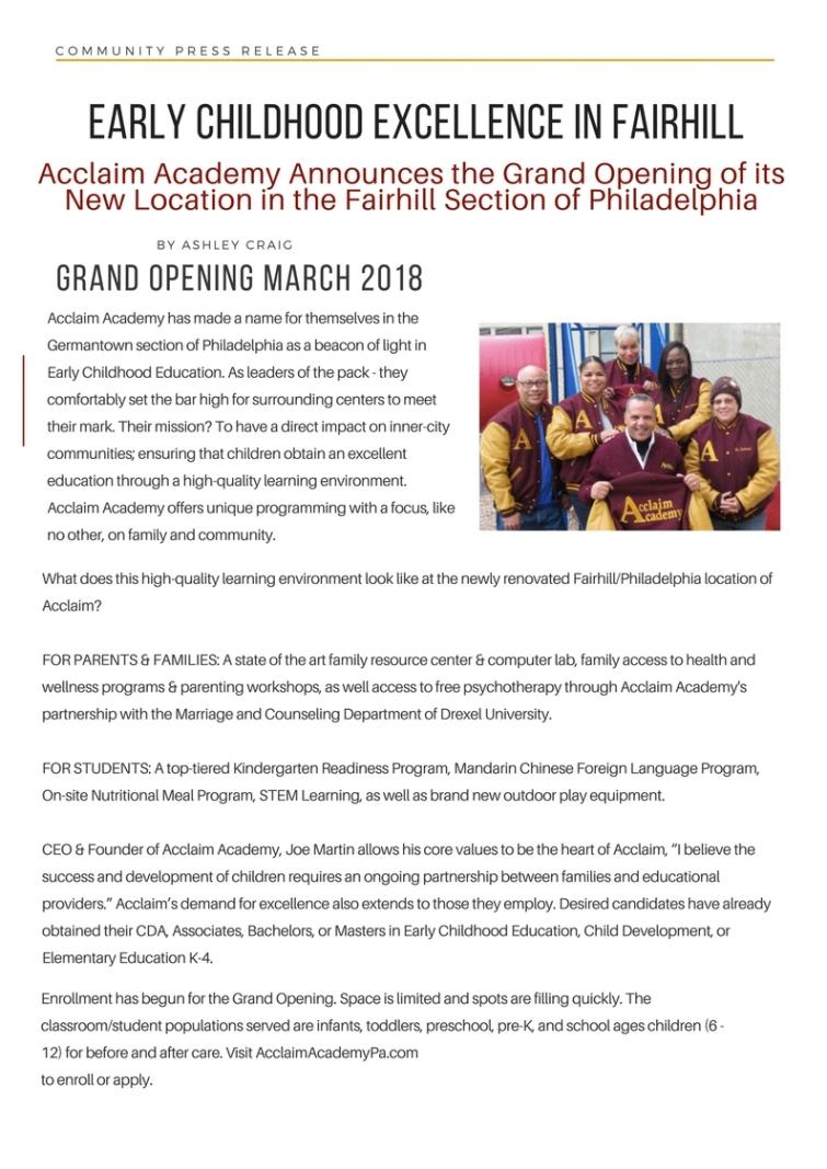 Acclaim Academy Press Release